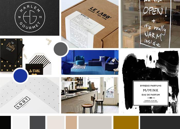 Moodboard voor merkdesign: stoer blauw moodboard